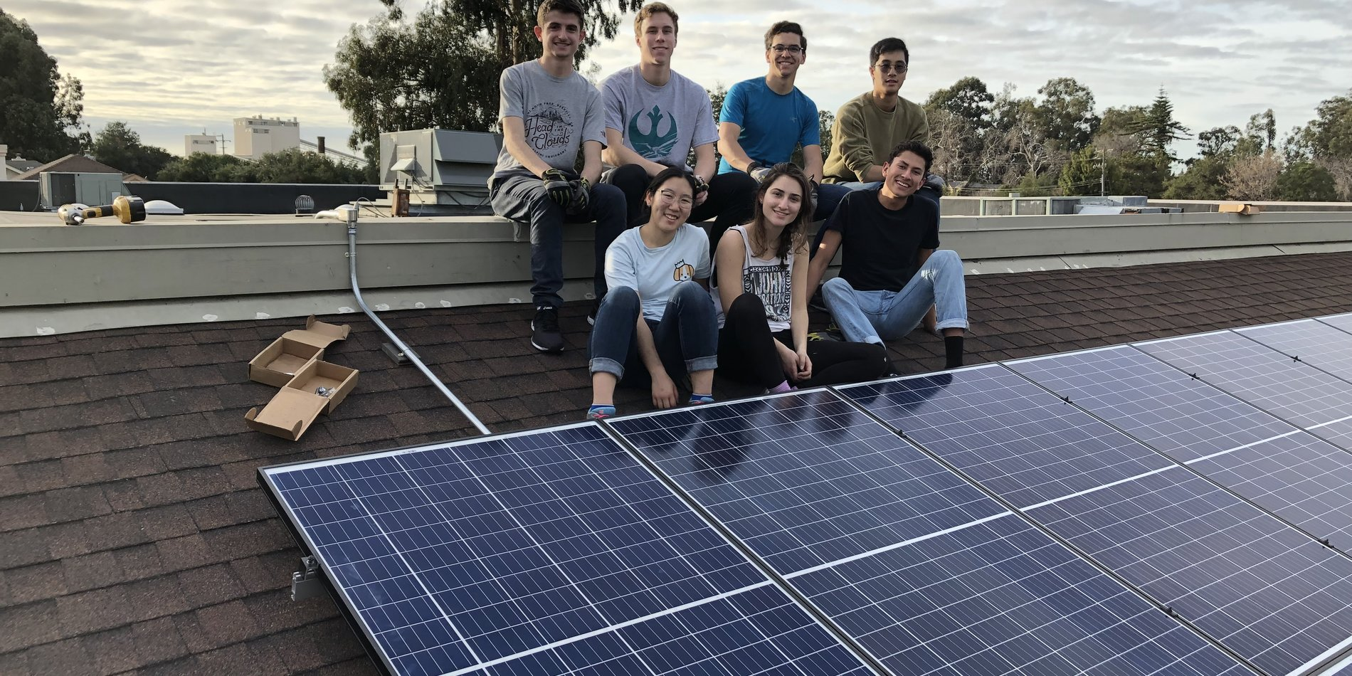 Students and solar panel